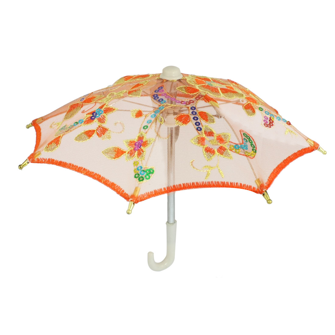 Orange Embroider Flower Pattern Folding Mini Lace Umbrella Toy for Child