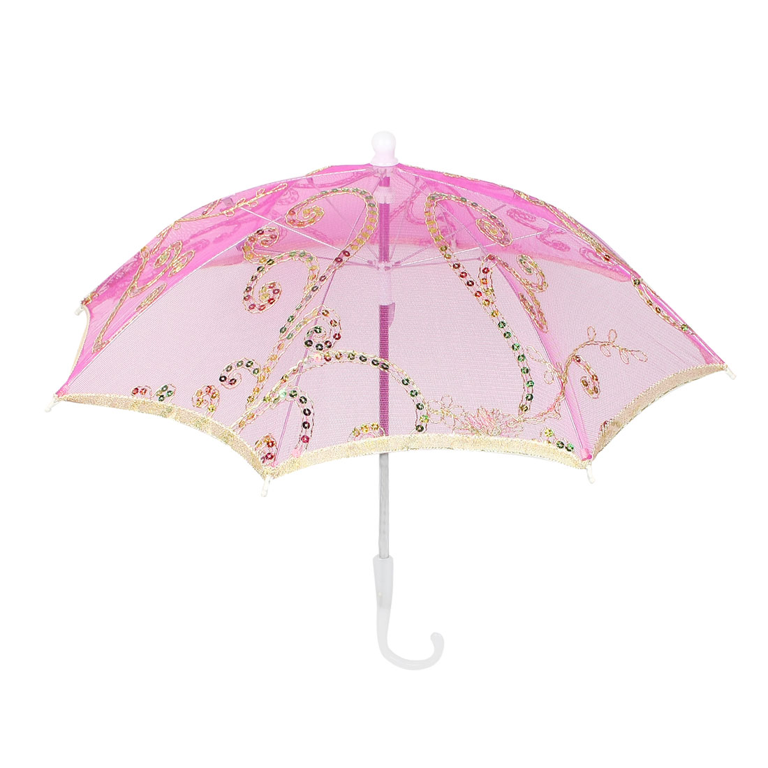 Wedding Fuchsia Embroider Floral Pattern Folding Mini Lace Umbrella