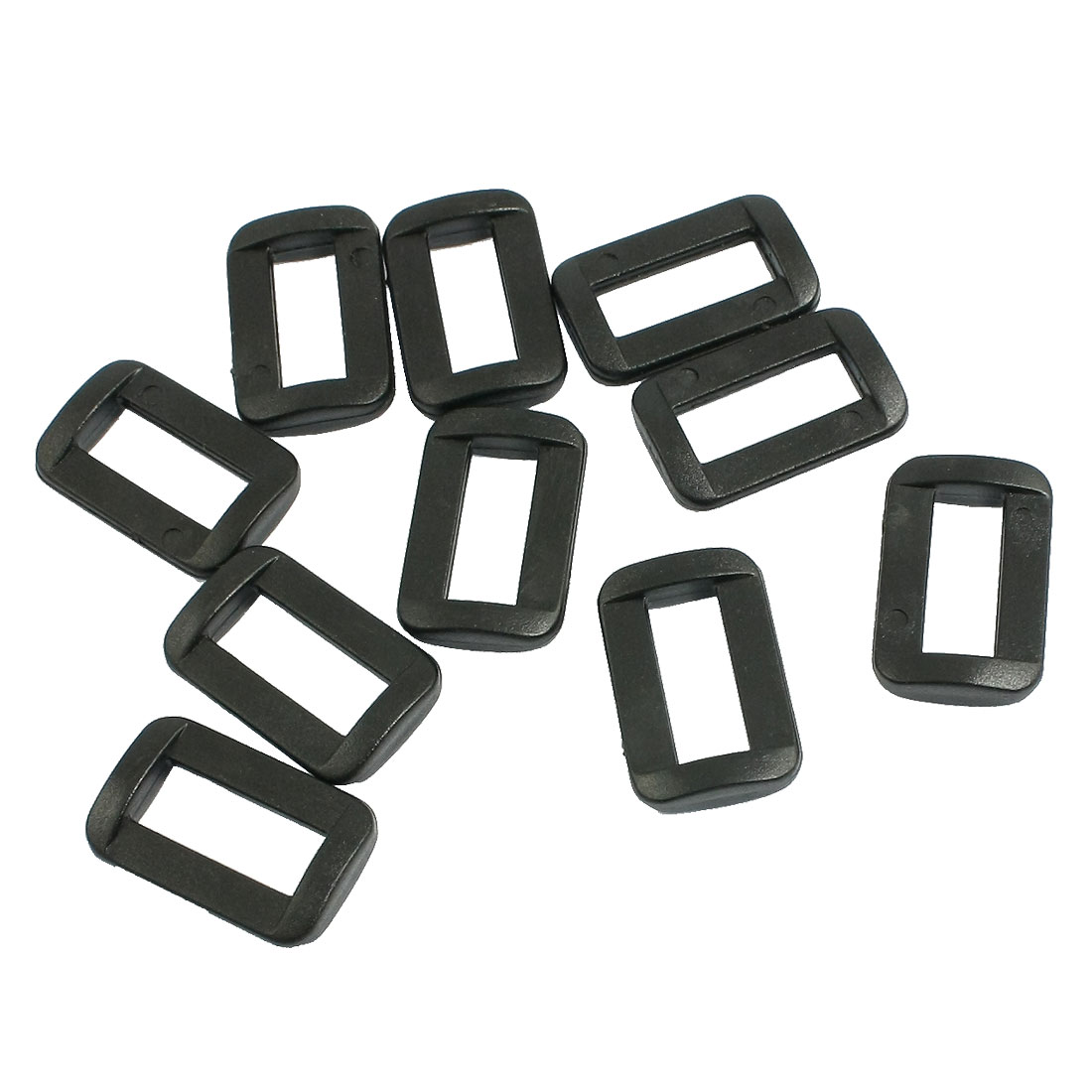 "10 Pcs Black Hard Plastic 5/8"" Strapping Slide Rectangle Buckle"