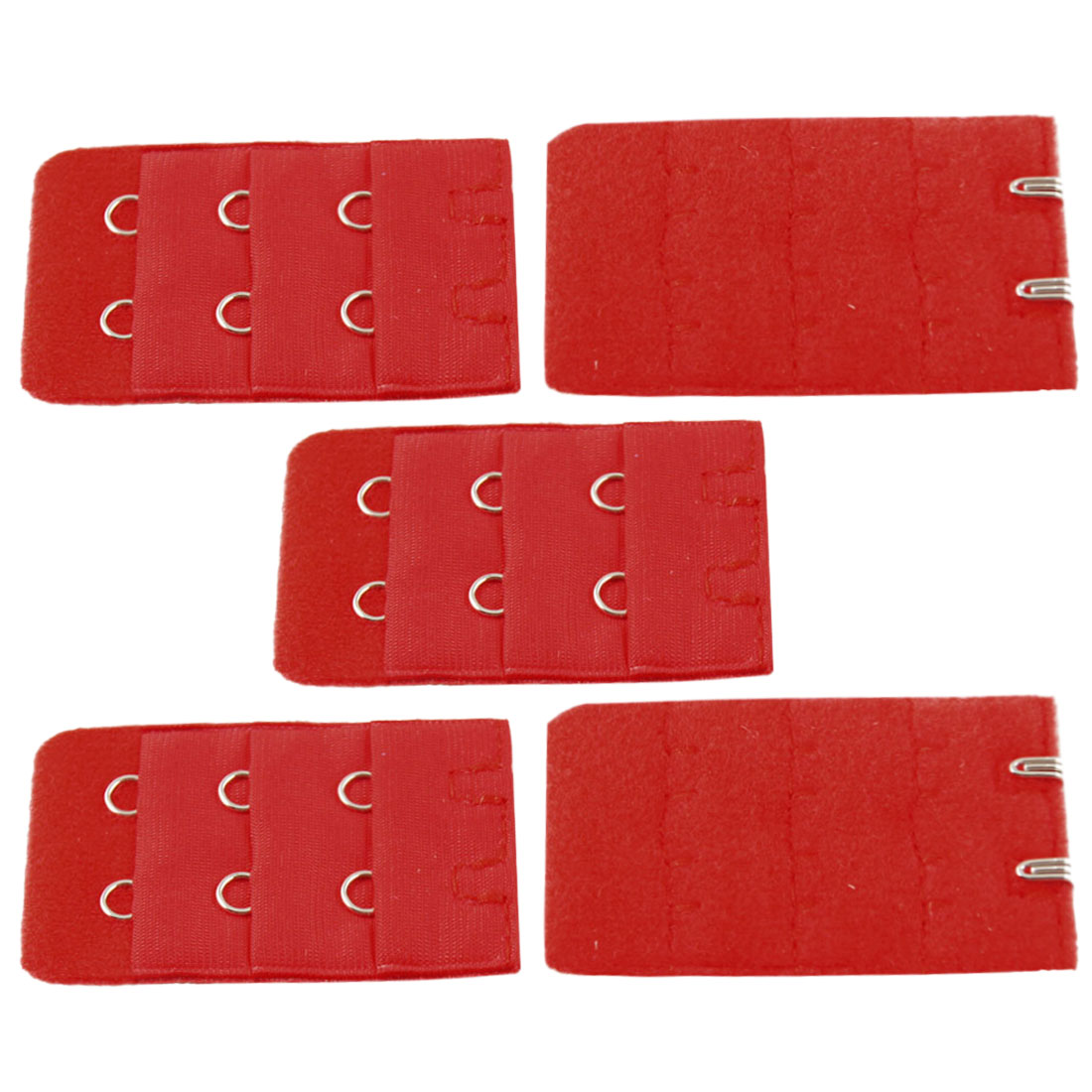 Lady Underwear Buckle Red 2 Hooks 3 Row Bra Strap Extender Hook 5 Pcs