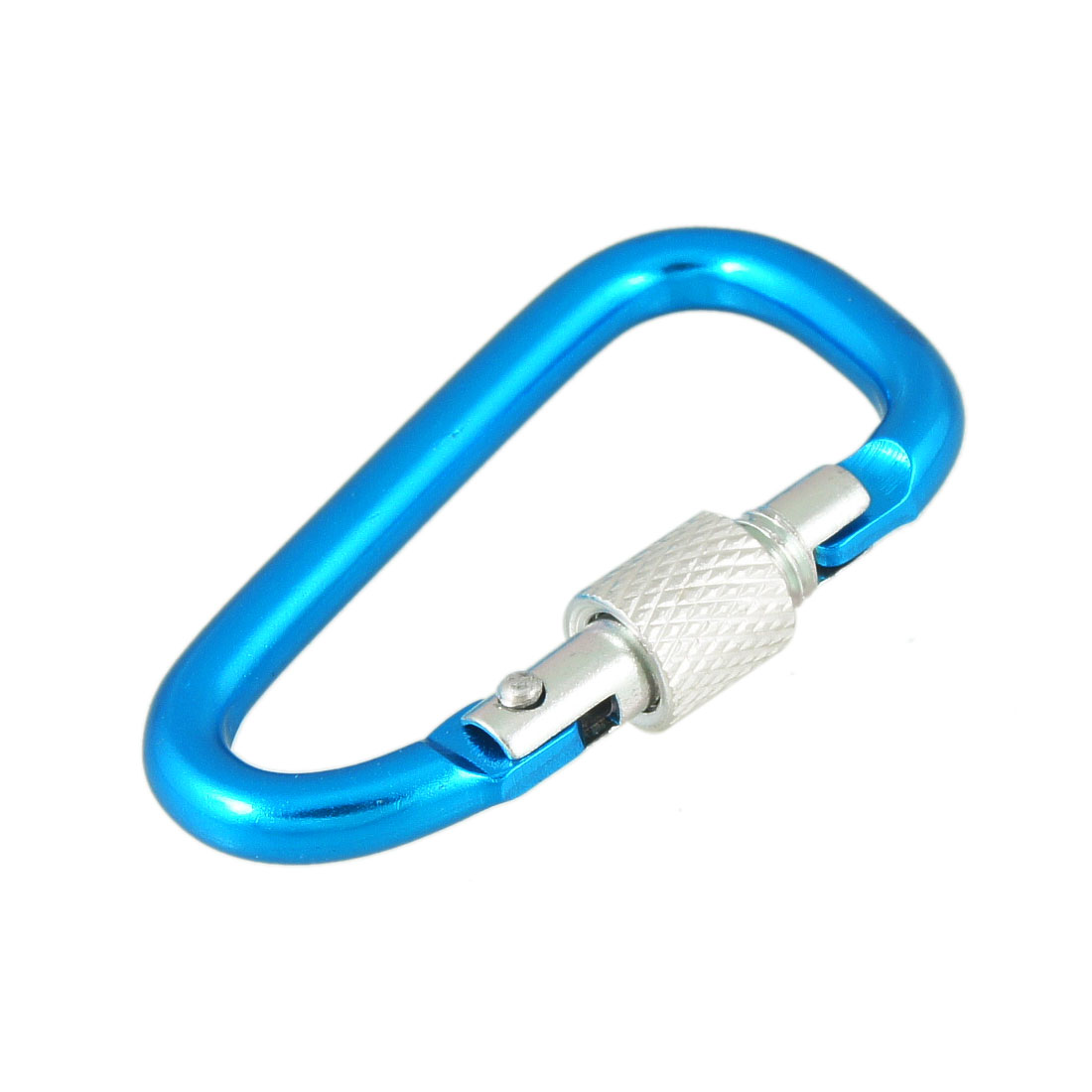 Blue D Shaped Silver Tone Aluminum Alloy Screw Nut Gate Locking Carabiner