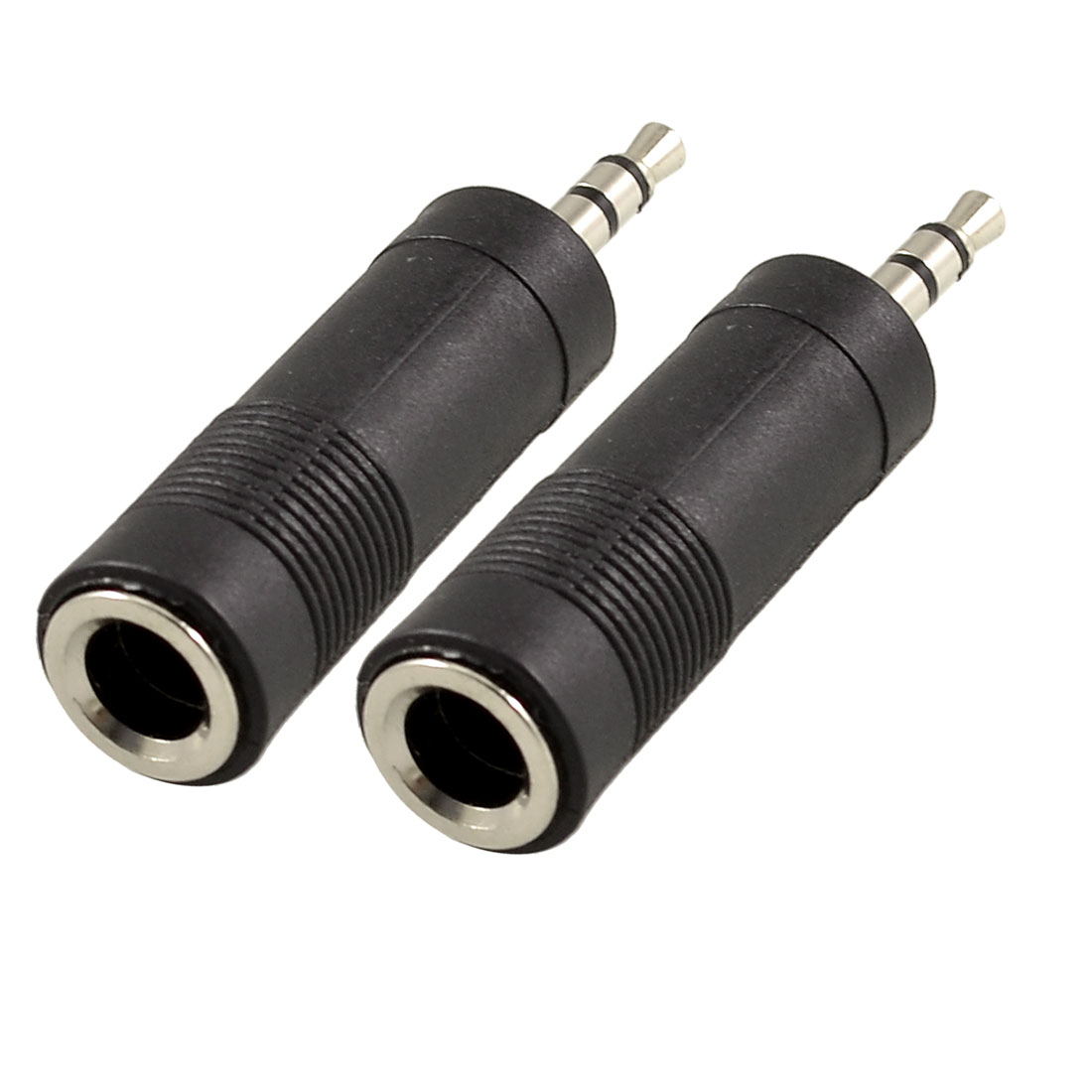 3.5mm Male to 6.35mm Female Jack Audio Speaker Cable Connector Adapter Black 2 Pcs
