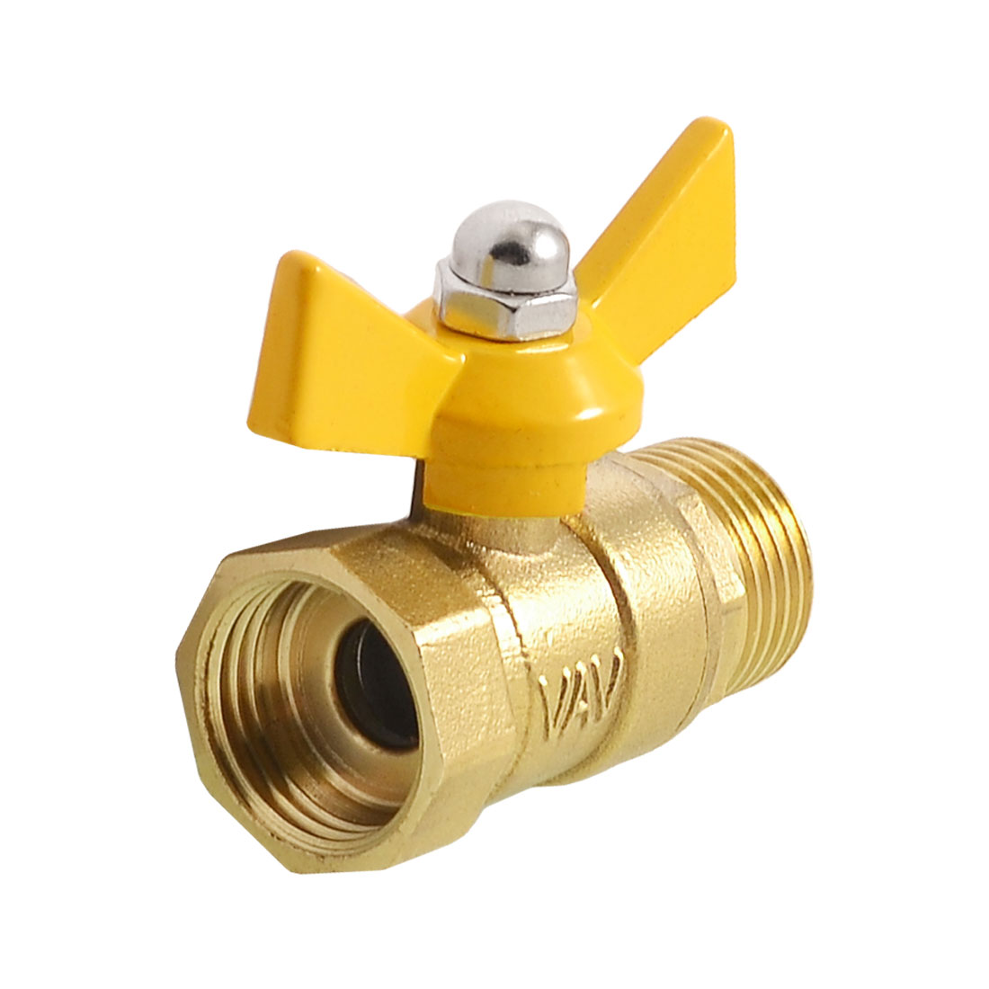 "3/8"" Female to 1/2"" Male PT Yellow Tee Handle Full Port Ball Valve"