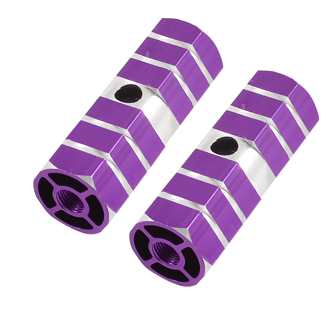 Purple Silver Tone Antislip Bicycle Front Rear Axle Foot Pegs 2 Pcs