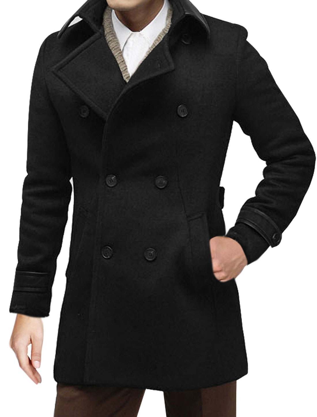 Mens Black Long Sleeve Point Collar Korea Stylish Tweed Overcoat M