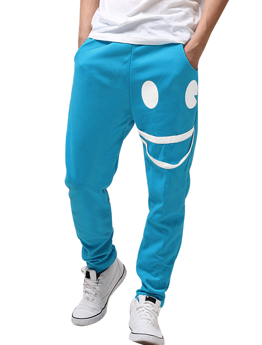 Men Blue New Casual Pockets Smile Design Harem Trousers W32