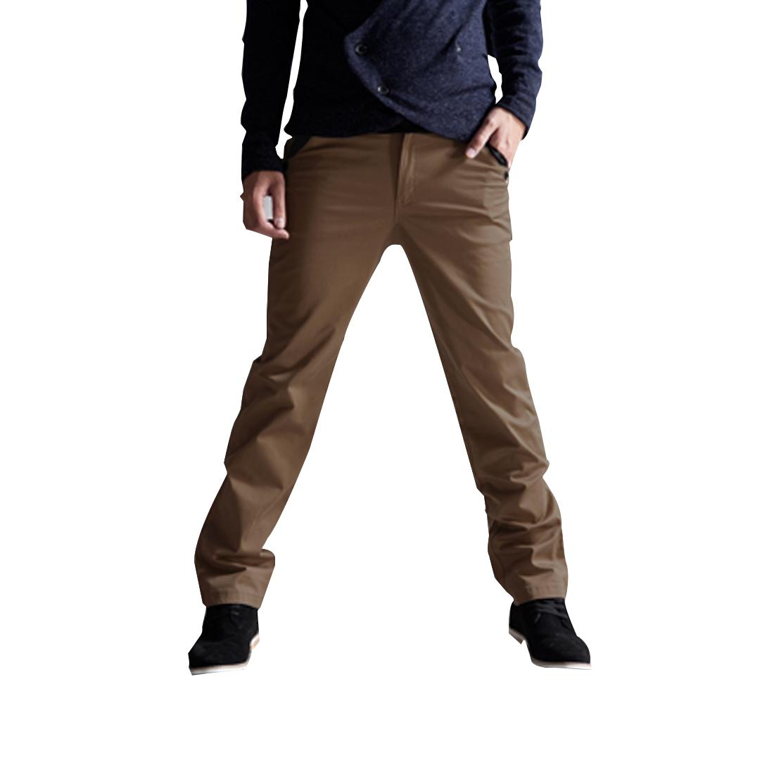 Mens Dark Khaki Stylish Button Closure Pocket Decor Back Pants W30