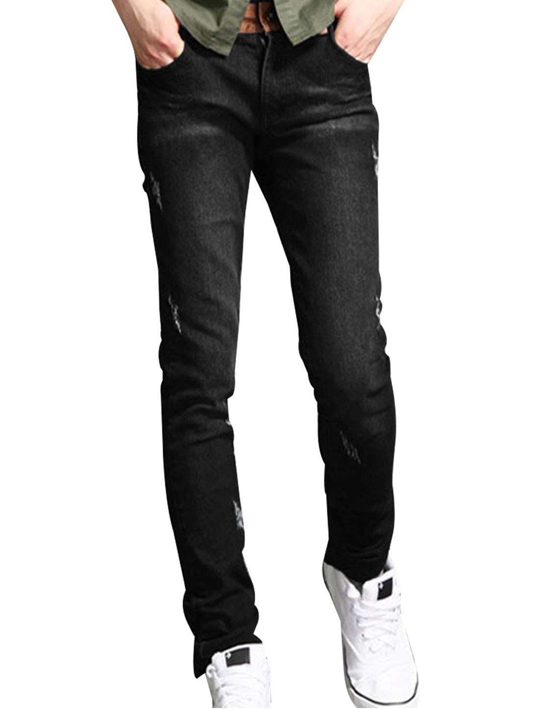 Men Black Front Slant Pockets Belt Loop Casual Denim Pants W31