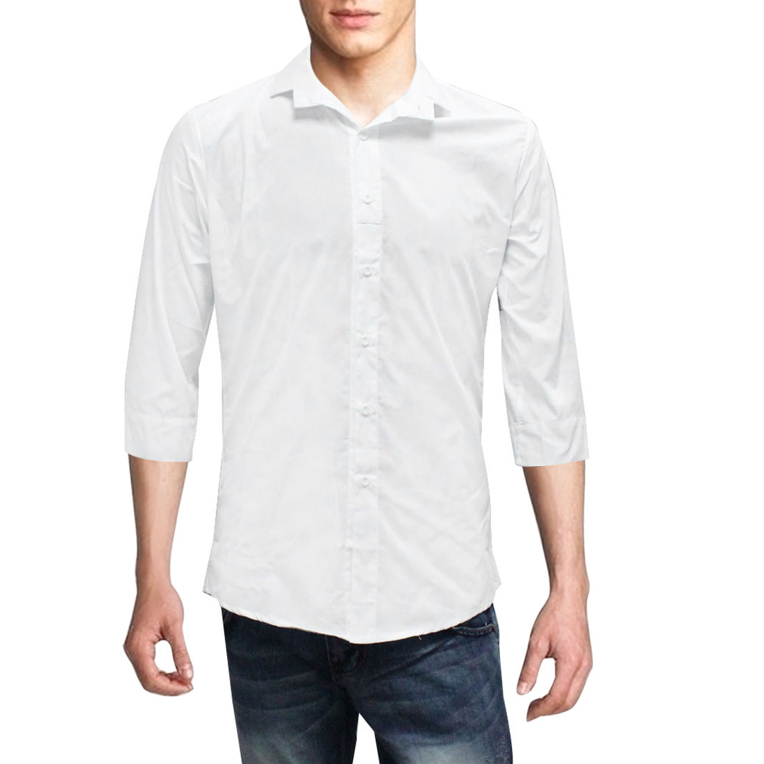 Mens Point Collar Button Closure Front Korea Leisure White Shirt M