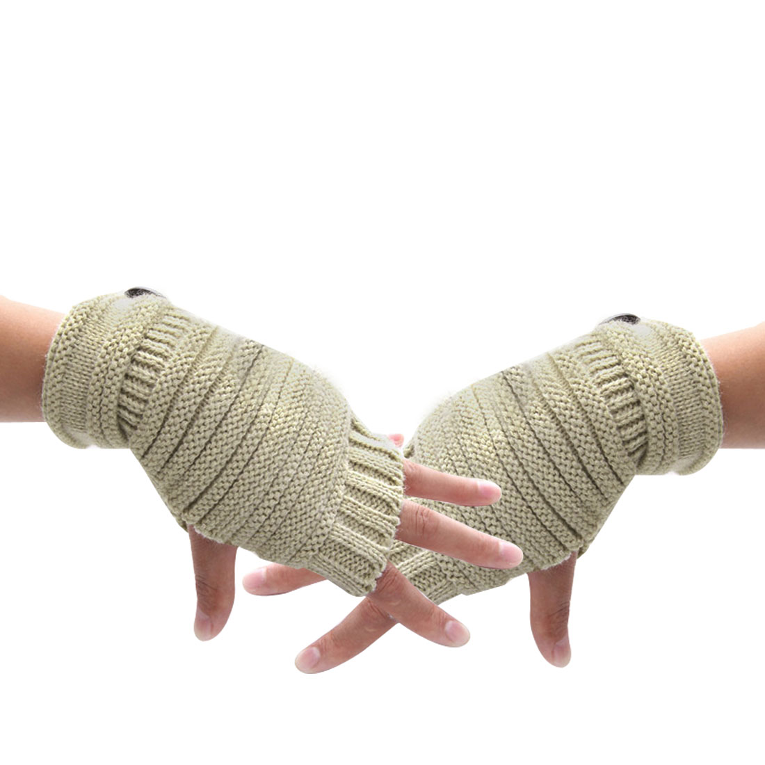 Unisex Beige Rolled Up Thumb Hole Textured Button Decor Winter Warmers
