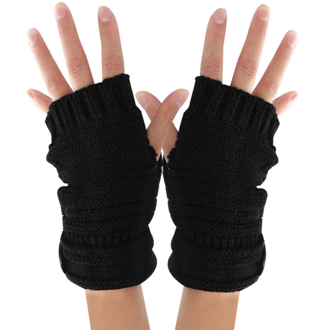Unisex Black Fingerless One Button Decor Ribbing Detail Textured Warmers