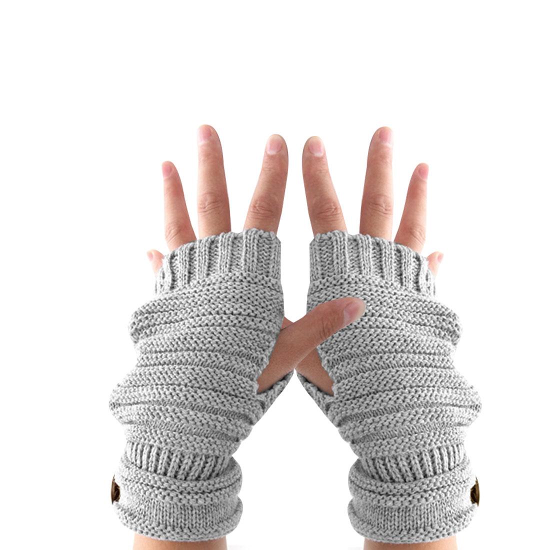 Unisex Light Gray Textured Fingerless Thumb Hole Button Decor Warm Gloves