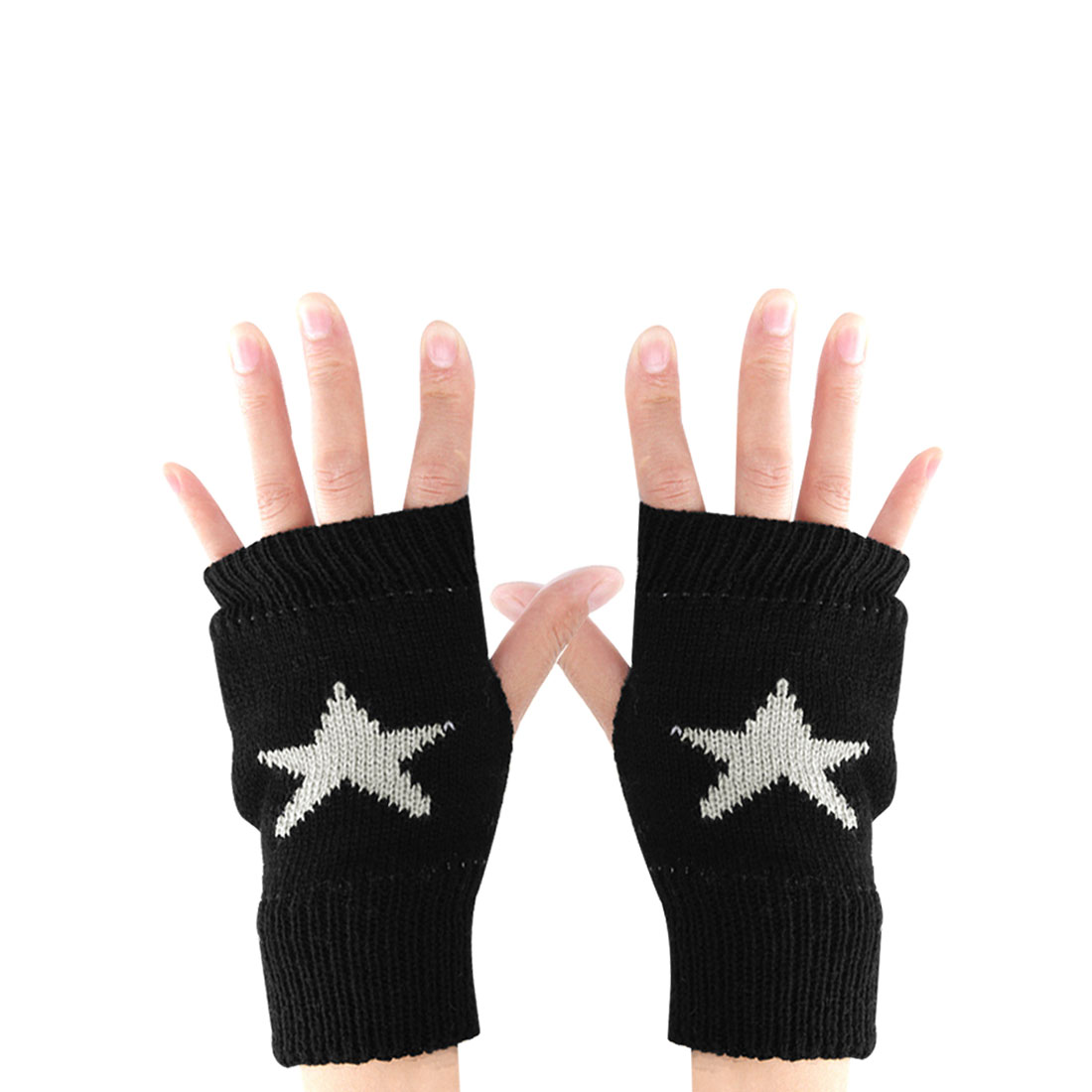 Men Black Star Pattern Ribbing Trim Stretch Thumb Hole Knitting Gloves
