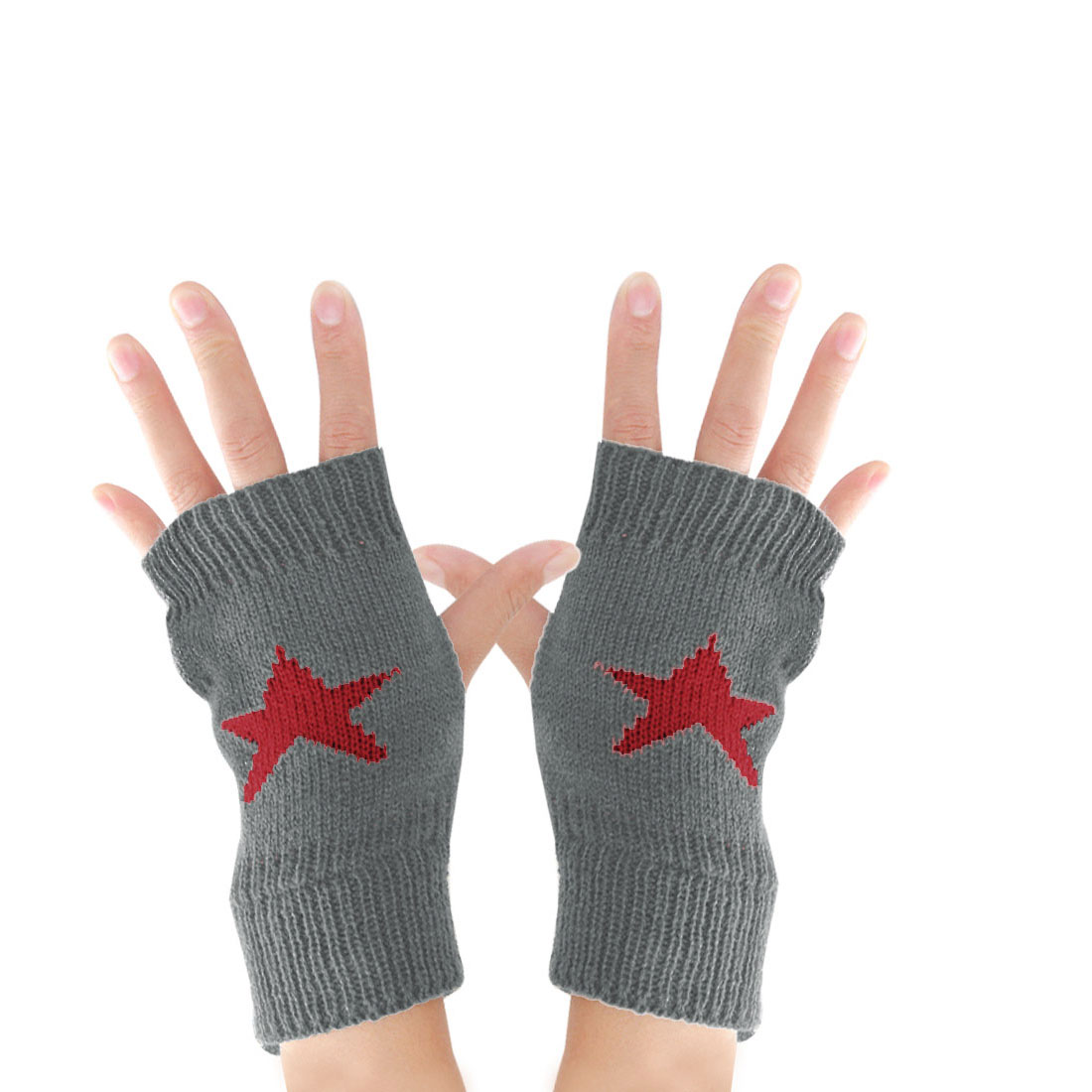 Mens Dark Gray Stretchy Thumb Hole Star Detail Acrylic Knitted Warmers