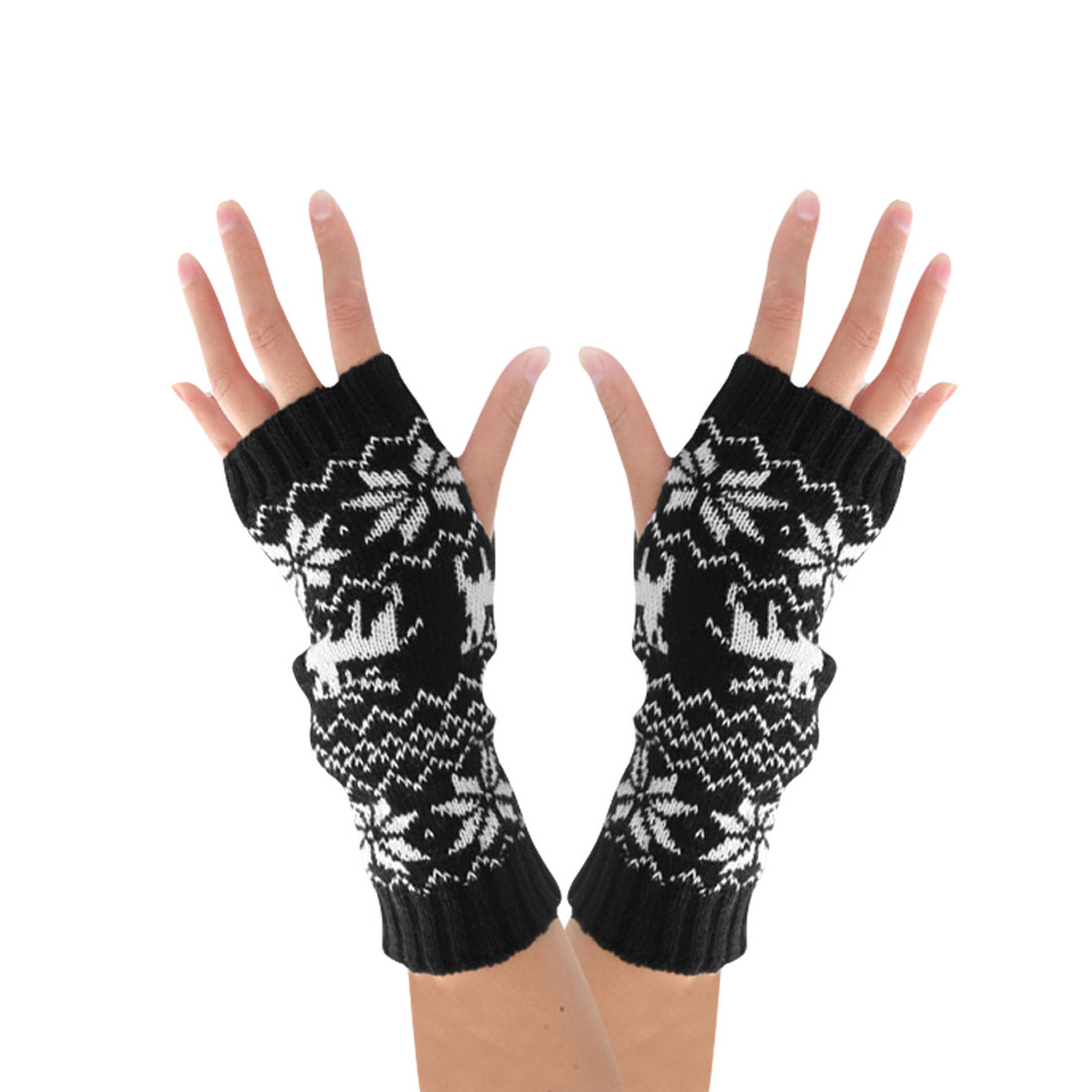 Mens Black White Stretchy Snowflake Print Fingerless Ribbed Trim Warmers Gloves
