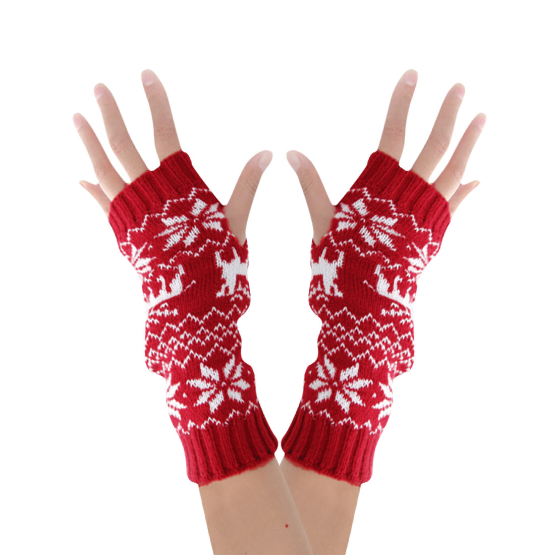 Men Red White Ribbing Trim Deers Pattern Stretch Arcylic Knitting Gloves