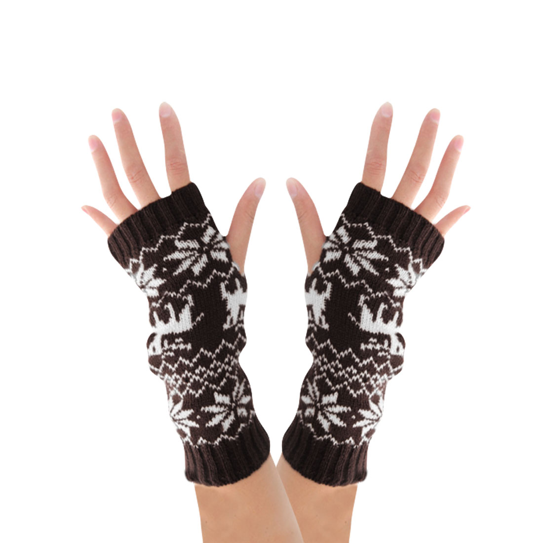 Mens Coffee White Snowflake Pattern Fingerless Thumb Hole Acrylic Gloves