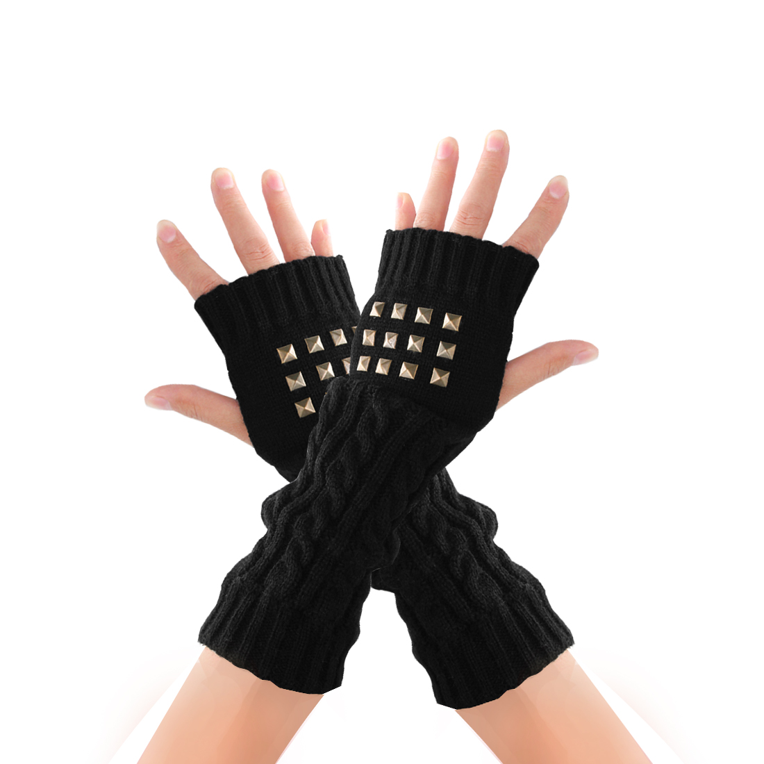 Mens Black Knitting Stretchy Thumb Hole Detail Winter Gloves
