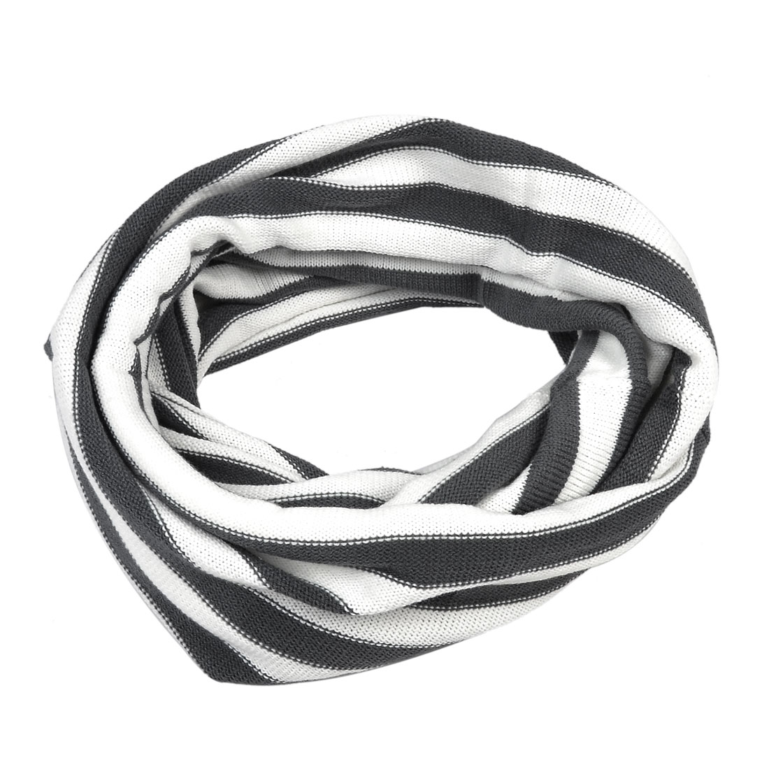 1606-D347 Mens White Gray Patch Knit Stripe Pattern New Fashion Tube Scarf