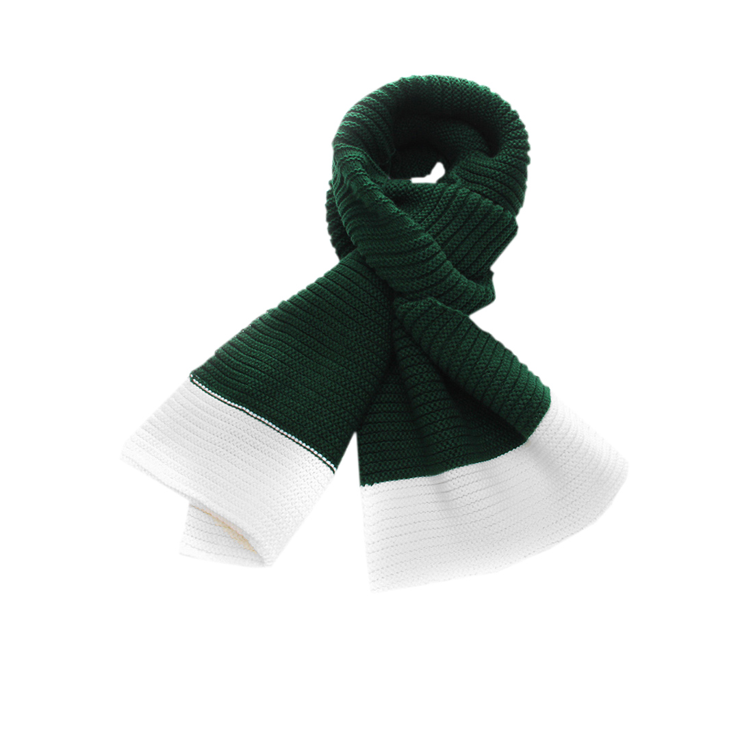 Mens Dark Green White Ribbed Chunky Knit Details New Fashion Scarf
