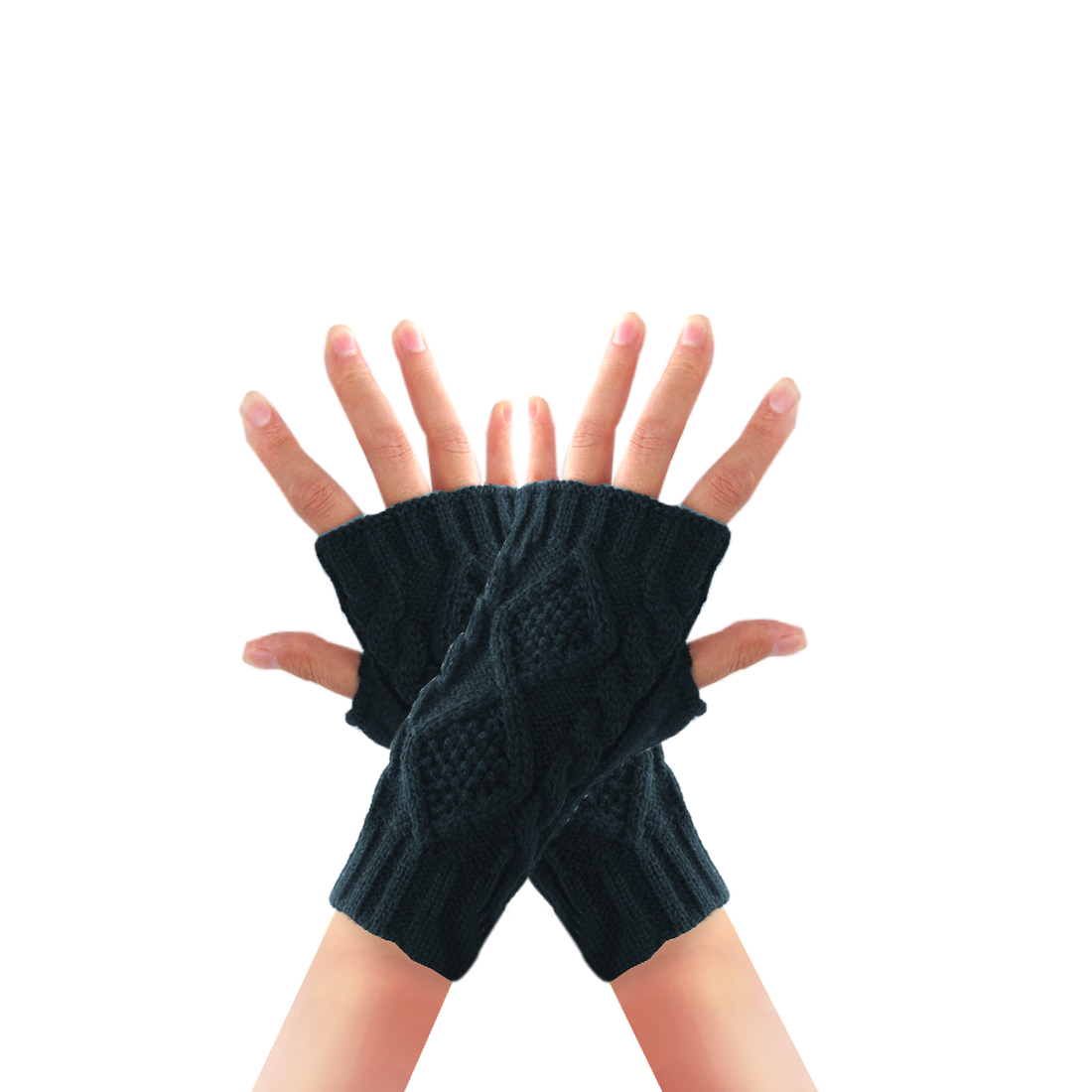 Men Dark Gray Thumb Hole Designed Simple Style Elastic Gloves