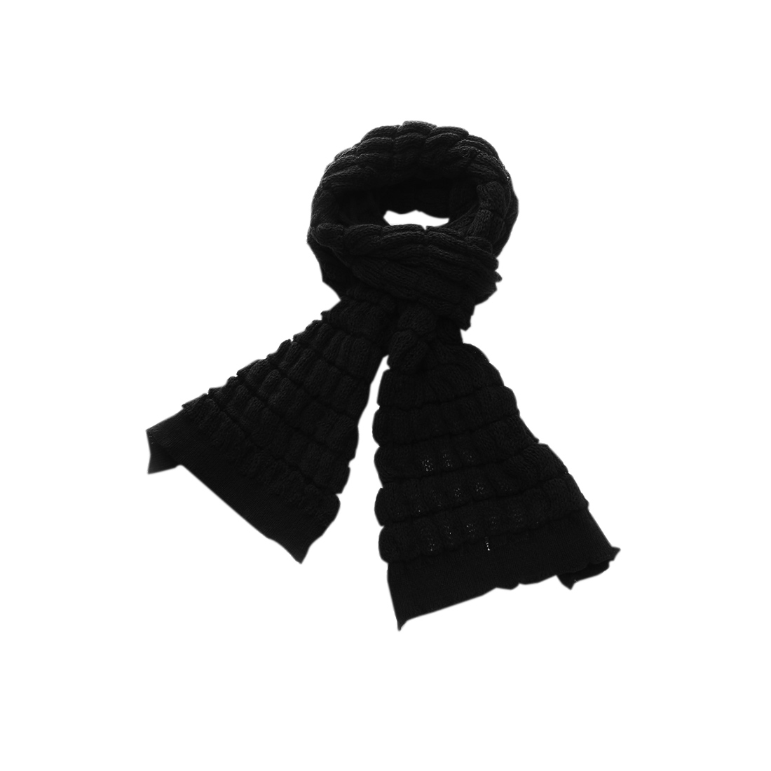 Mens Black Plaids Pattern Knit Details Fashion Long Shawl Wrap Scarf