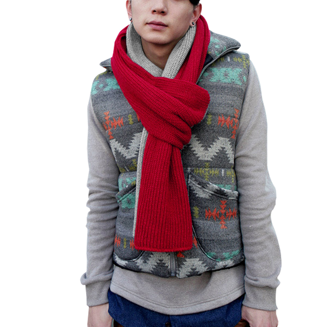 Mens Red Light Gray Crochet Knitting Autumn Stylish Long Shawl Wrap Scarf