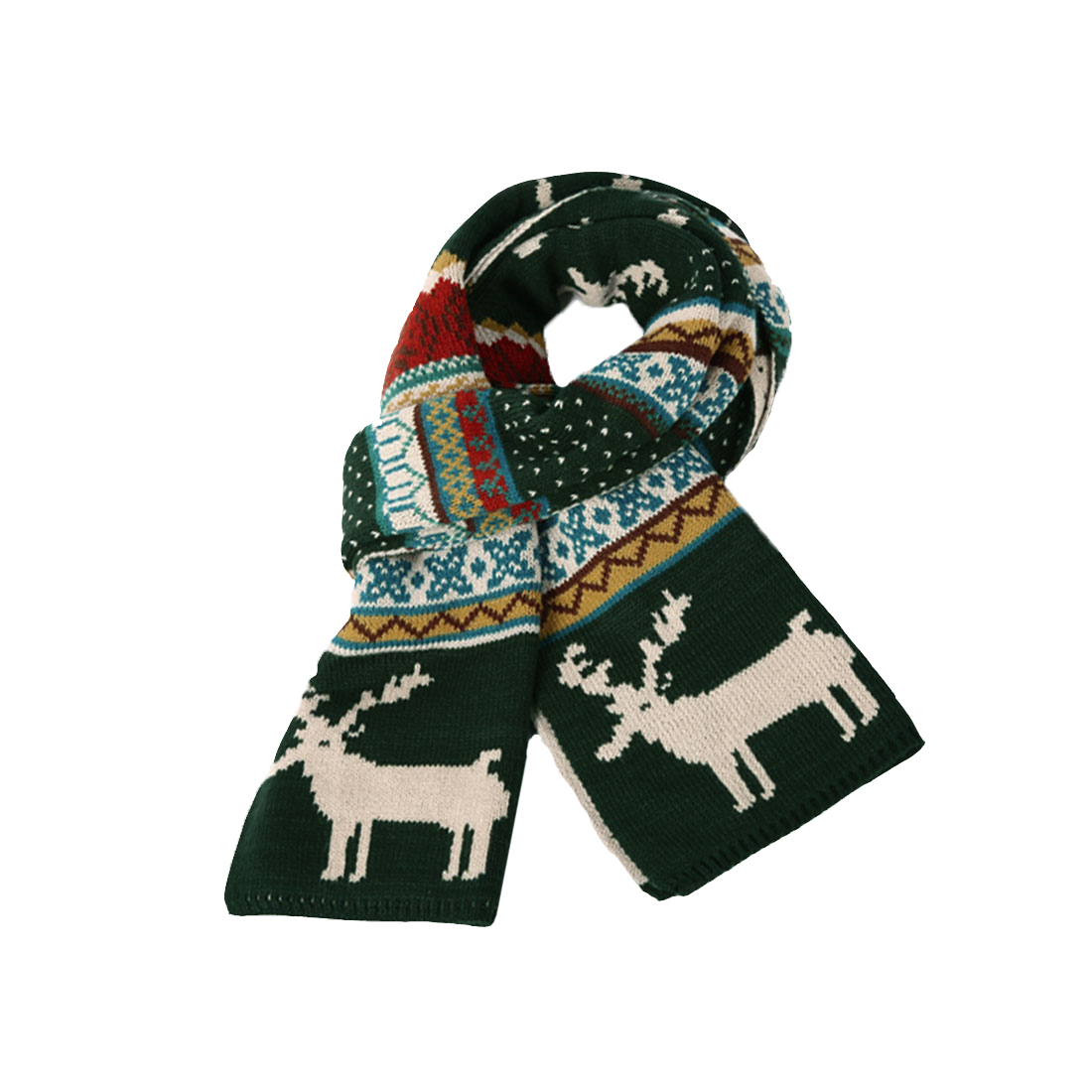618-WJ010 Mens Deer Pattern Winter Fashion Christmas Knitting Dark Green Scarf
