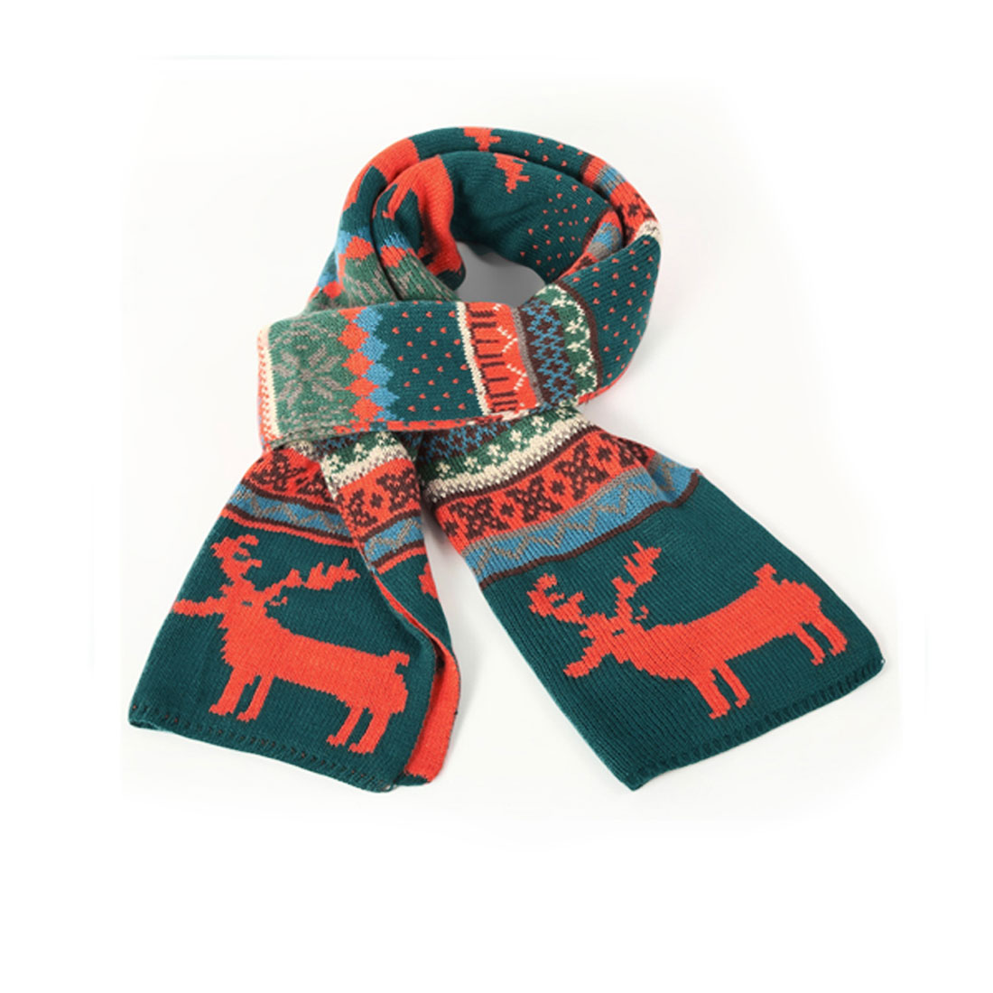 Mens New Fashion Multicolor Deer Pattern Xmas Textured Knit Scarf
