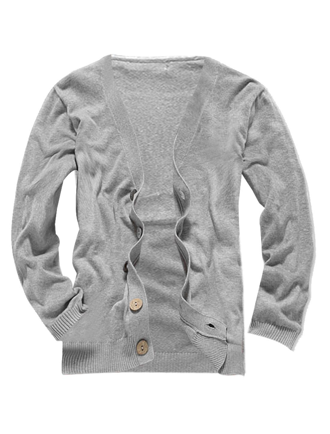 Men Light Gray Knitting Wooden Buttons Detail Leisure Cardigan S