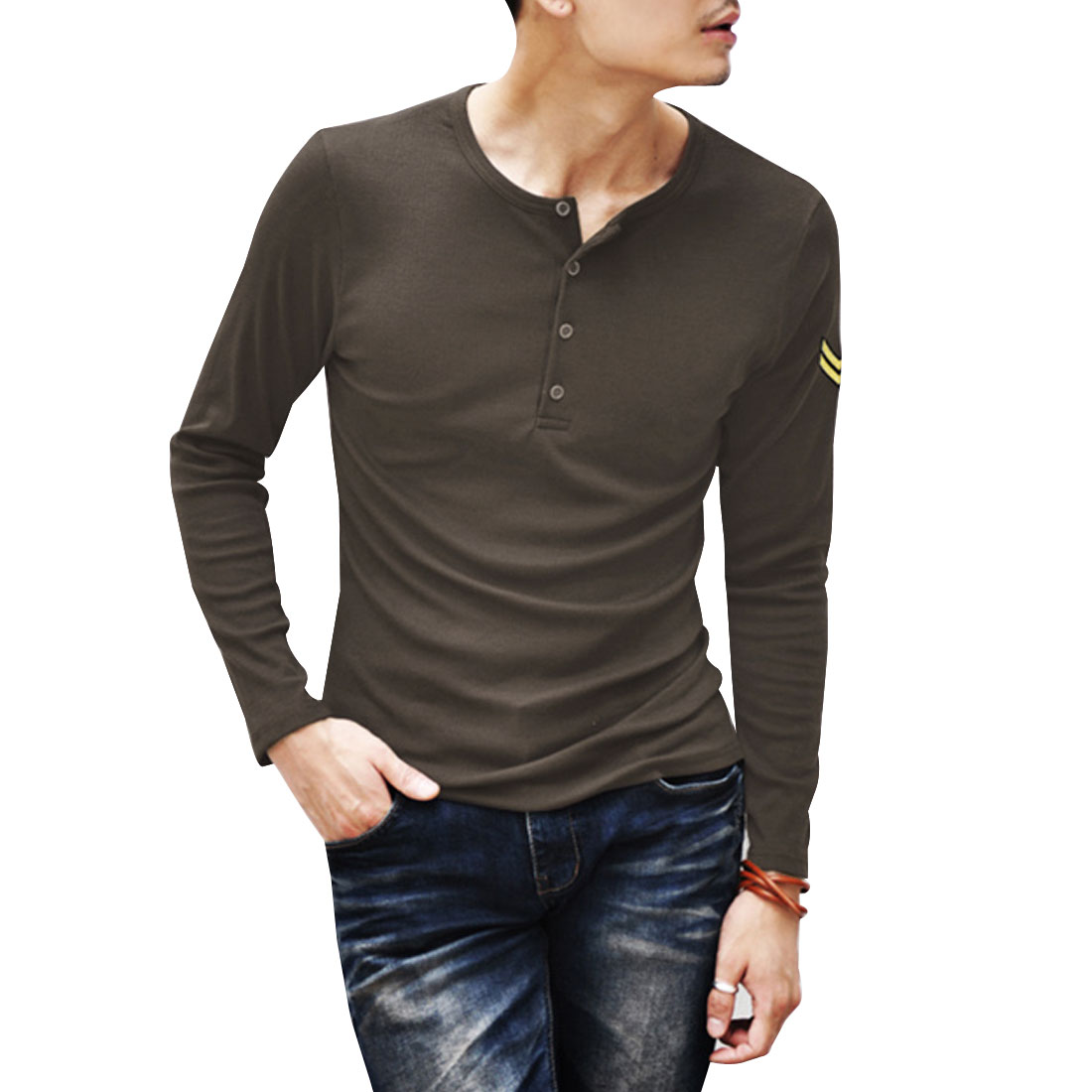 Men Coffee Color Round Neck Stretchy Button Up Front Shirt M