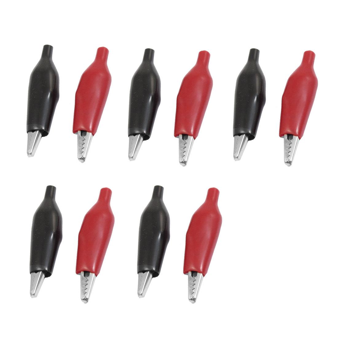 10 Pcs Insulating Multimeter Alligator Cable Clip Black Red
