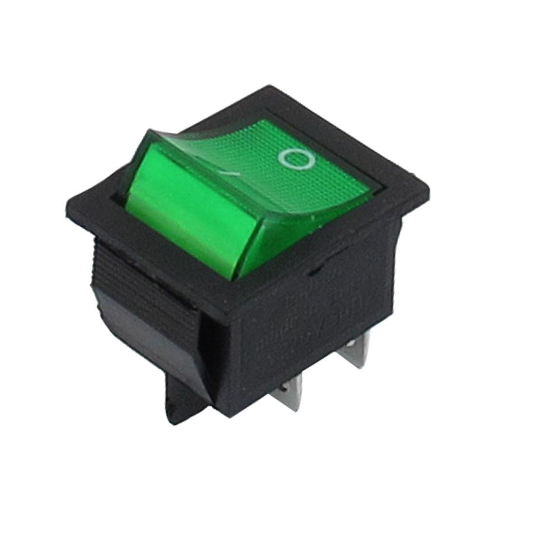 Green Illuminated Light On/Off DPST Boat Rocker Switch 5A 220V AC