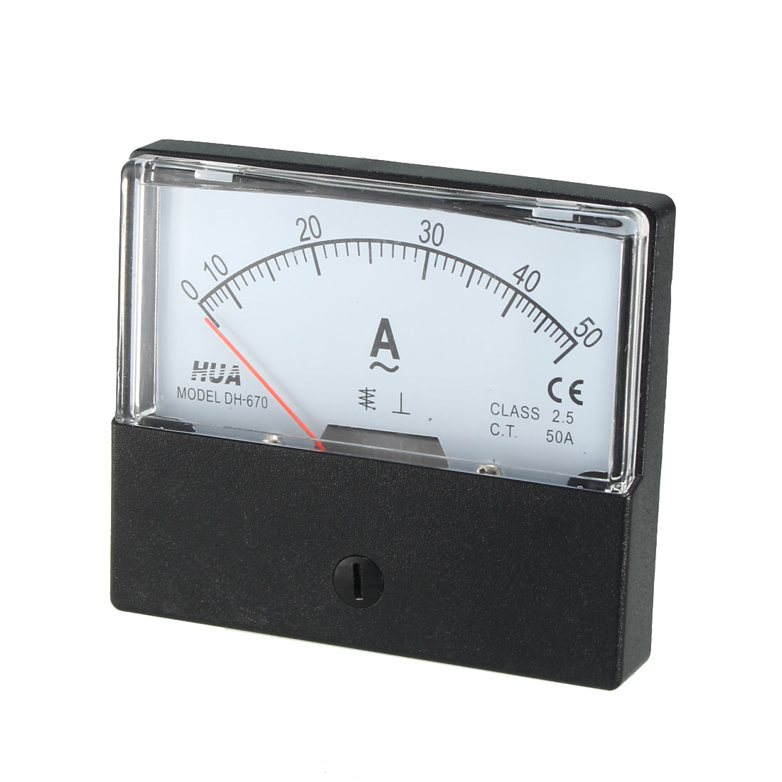 Class 2.5 Accuracy AC 0-50A Rectangle Analog Panel Meter Ammeter White