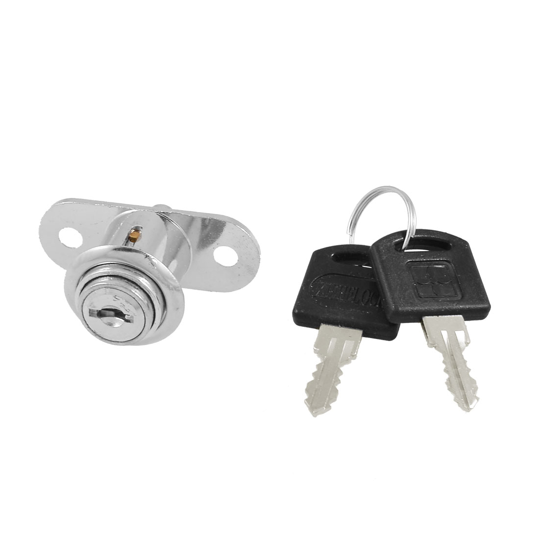 "Sliding Door 0.73"" Head Dia Plunger Lock Silver Tone + Keys"