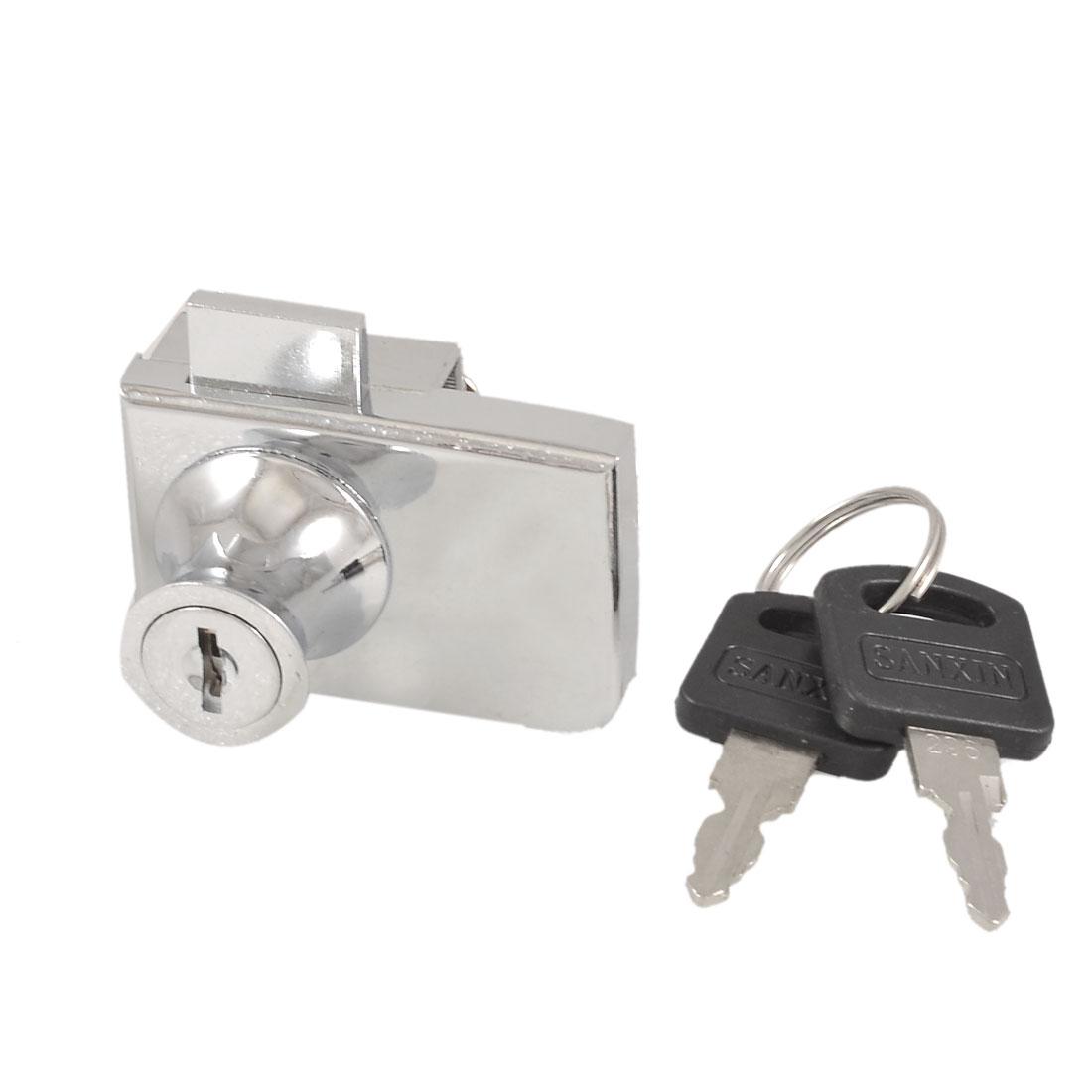 "2"" Long Single Glass Door Key Locking Lock Silver Tone"