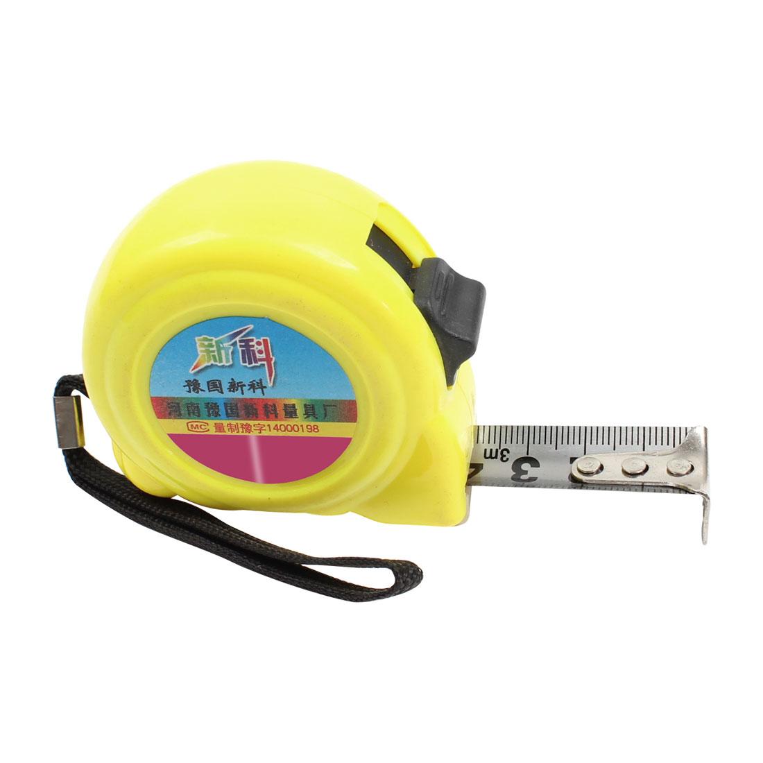 3 Meter Long Yellow Plastic Case Metal Retractable Ruler Tape Measure Tool