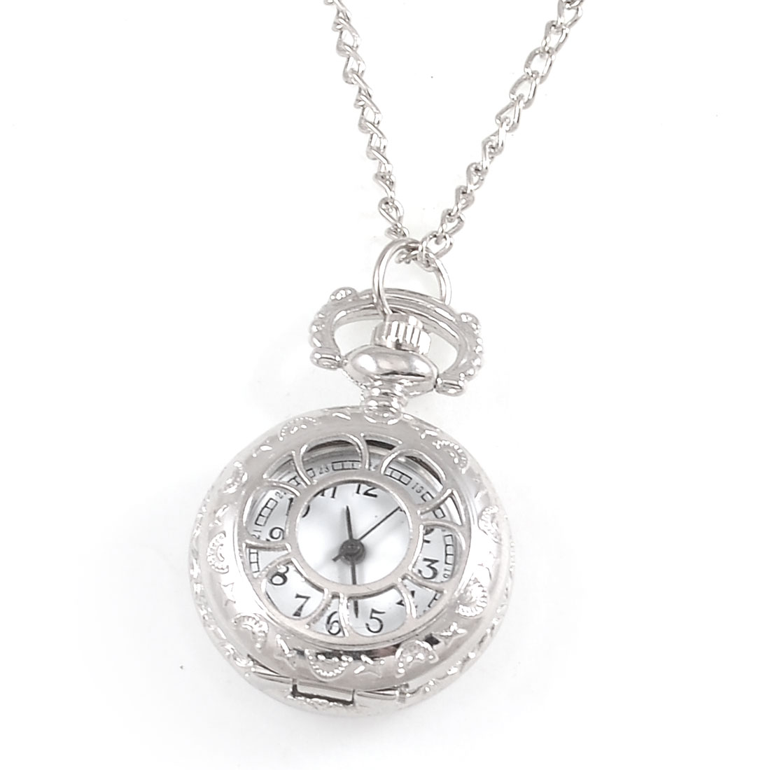 Ladies Flower Pattern Cut out Hunter Case Necklace Watch Silver Tone