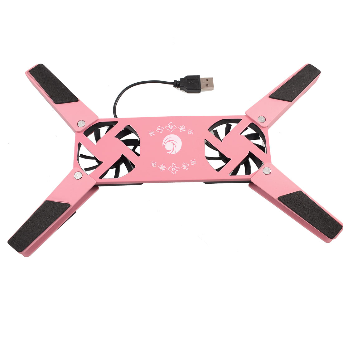 Pink Folding Shell 2 Cooling Fans USB Cooler Pad for Notebook