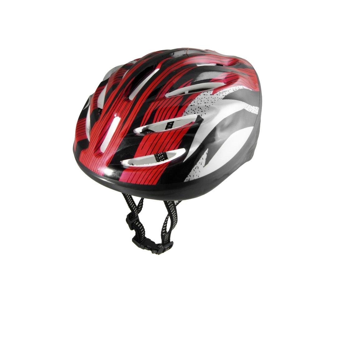 Man Women Red Black Strip Skateboard Bicycle Bike Cycling Skating Foam Helmet