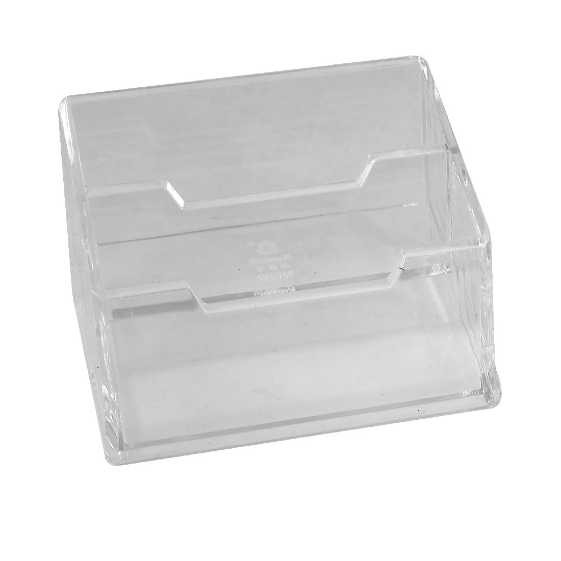Office Plastic 2-layer Name Business ID Bank Card Stand Holder Case Box Clear