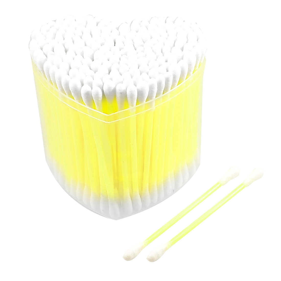 150 Pcs Cosmetic Disposable Yellow Tube Dual End Cotton Swab Bud w Heart Box