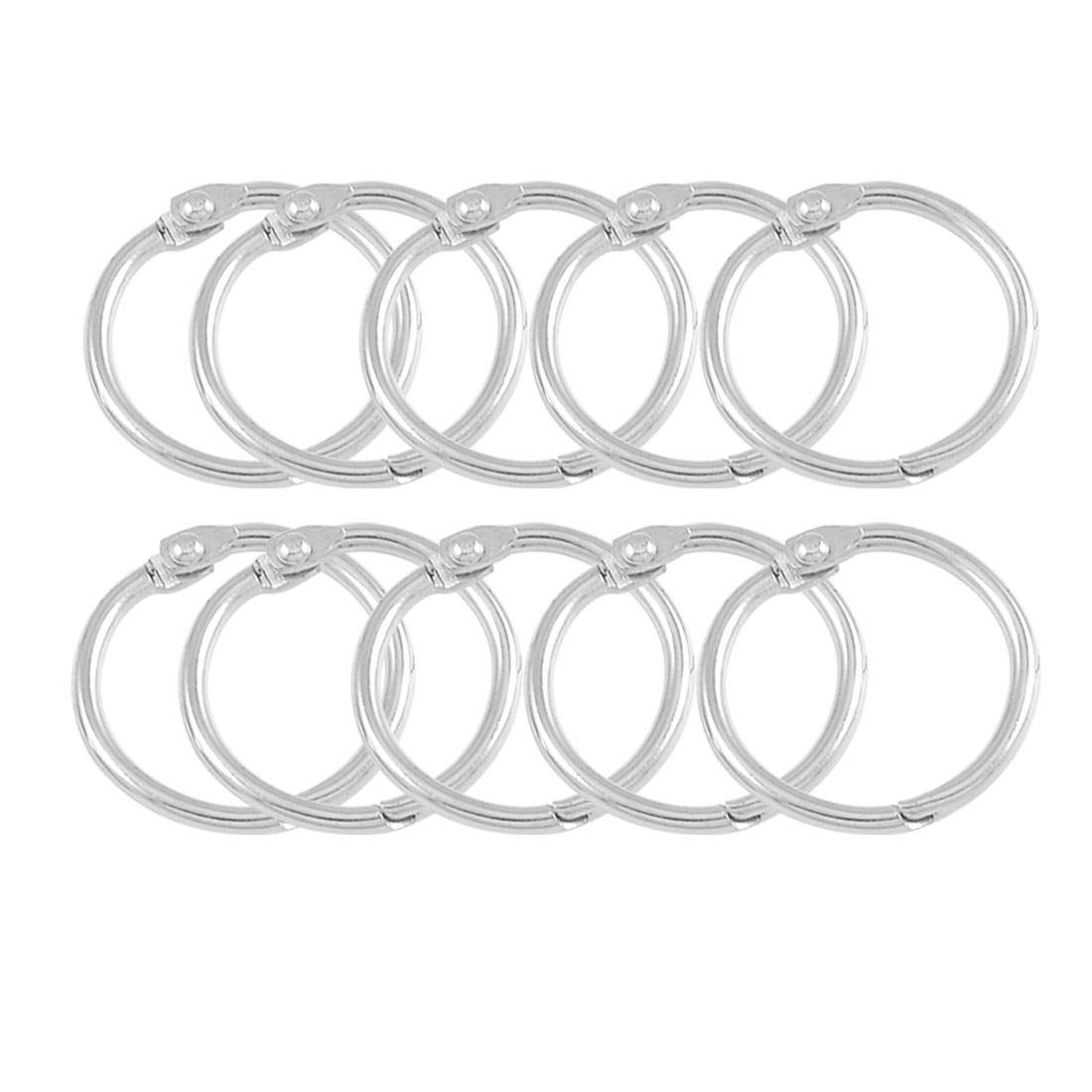"10 x Silver Tone Metal 1.2"" Loose Leaf Bundle Book Rings Keychains"