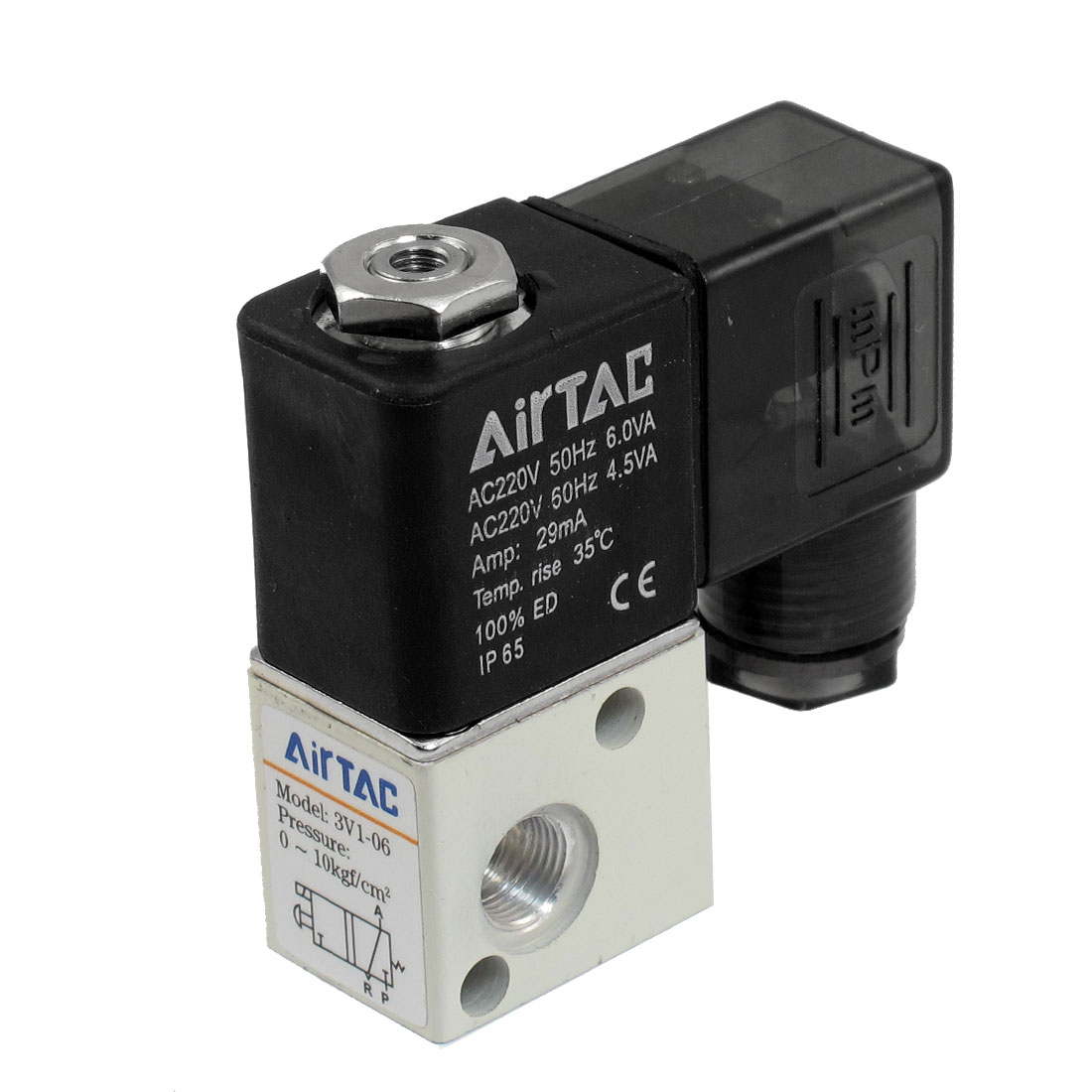 "3V1-06 29mA AC 220V 2 Position 3 Way Pneumatic Solenoid Valve 1/8""PT"