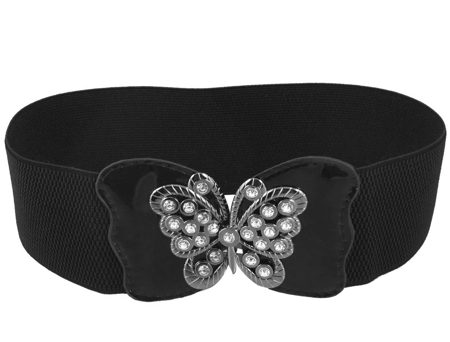 Women Rhinestone Inlaid Butterfly Shape Interlock Buckle Elastic Cinch Belt Black