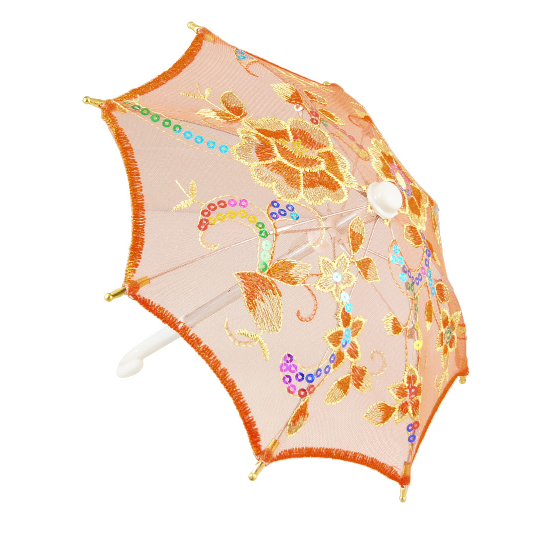 Child Orange Gold Tone Nylon Mesh Floral Embroidery Sequins Foldable Umbrella Ornament