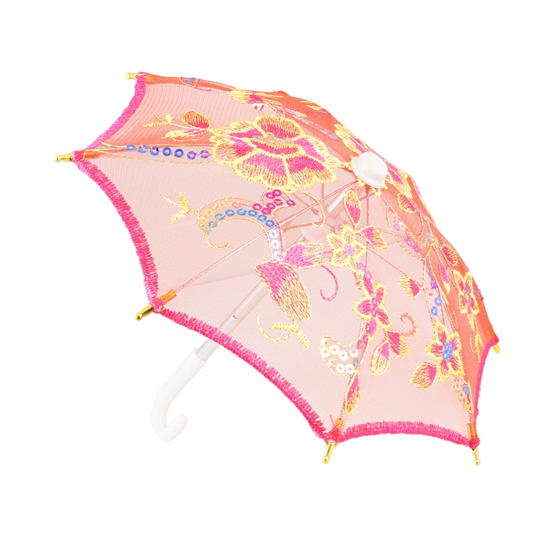 Child Red Fuchsia Nylon Mesh Sequins Embroidery Hanging Foldable Umbrella Ornament