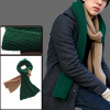 Mens Dark Green Khaki Color Ribbed Knit Long Shawl Wrap Scarf