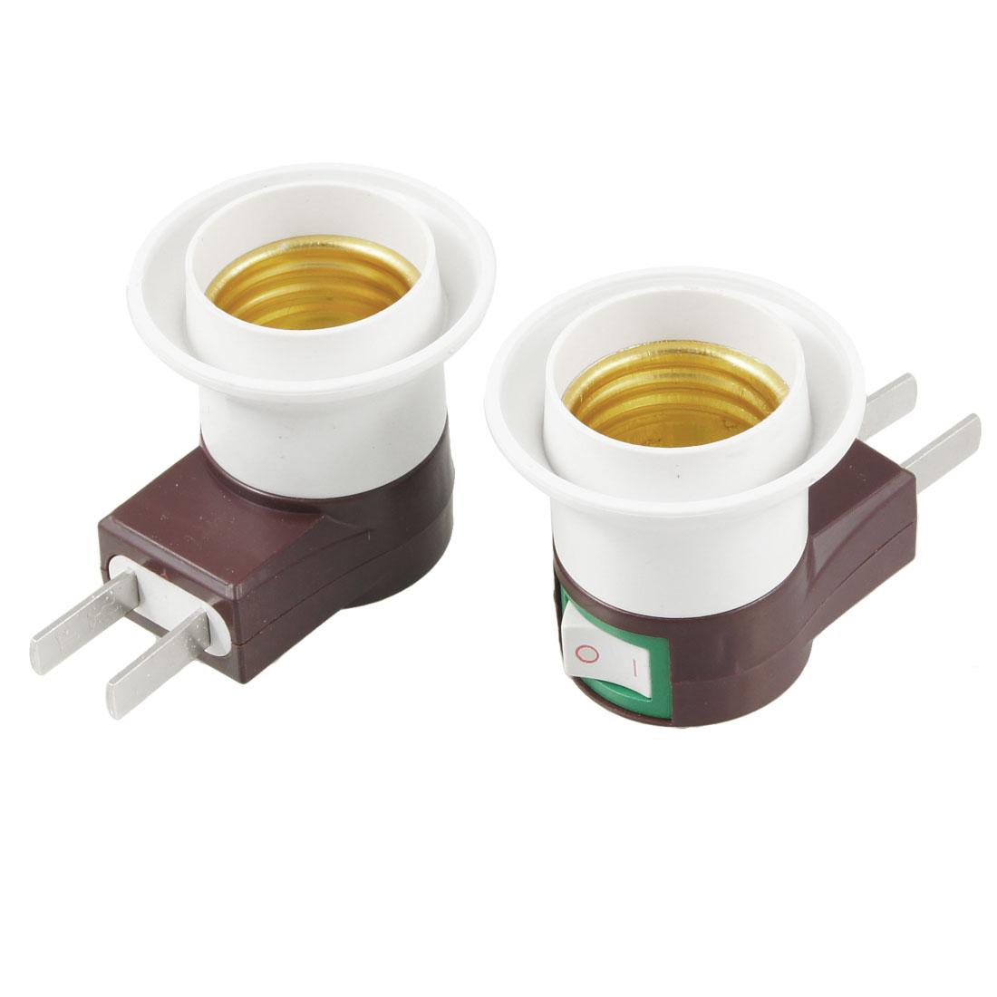 2 Pcs E27 Screw Type Boat Switch Design Light Bulb Lamp Socket 250V 50Hz