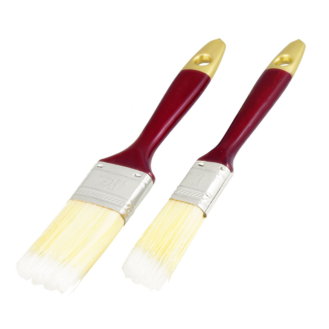 2 Pcs Flat Faux Fur Hair Dark Red Wood Long Handle Oil Painting Brush